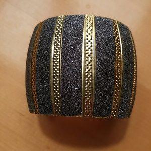 Jewelry - Bold Cuff Bracelet Gold Tone & Faux Crushed Diam